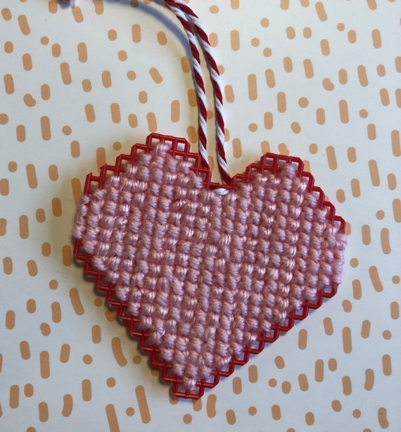 Heart Cross Stitched Ornament