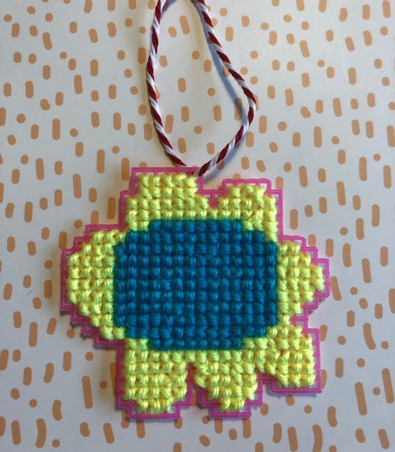 Flower Cross Stitched Ornament