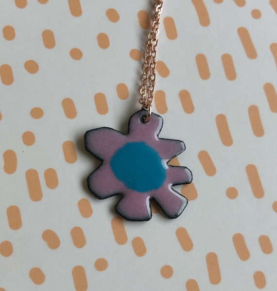 Pink and Blue Flower Enamel Necklace