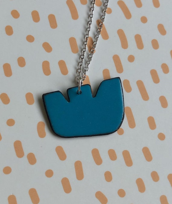 Blue Flower Enamel Necklace