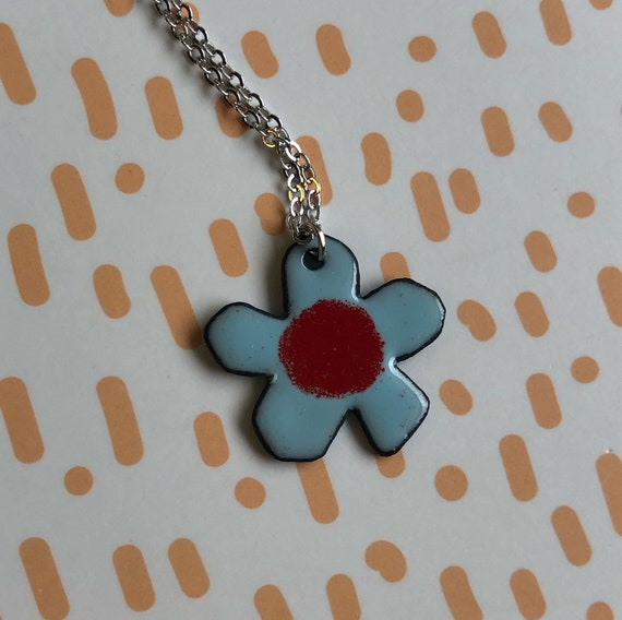 Blue and Red Flower Enamel Necklace