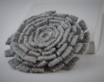 Grey felt wool flower pin 3 inches wide