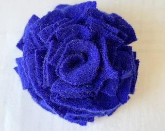 Blue cashmere felt flower brooch