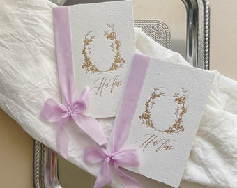 Calligraphy Wedding Vow Books // Handmade Paper with Lilac Silk Ribbons