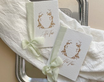 Calligraphy Wedding Vow Books // Handmade Paper with Light Green Silk Ribbons