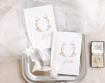 Calligraphy Wedding Vow Books // Handmade Paper with White Silk Ribbons