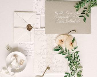 Wedding Calligraphy Invitation, Simple Styled-Shoot Invitation