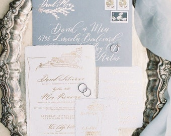 Wedding Calligraphy Invitation, Heirloom Calligraphy Wedding Invitation // Foil on Handmade Paper