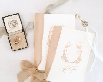 Calligraphy Wedding Vows Book // Handmade Paper with Rusty Gold Silk Ribbons