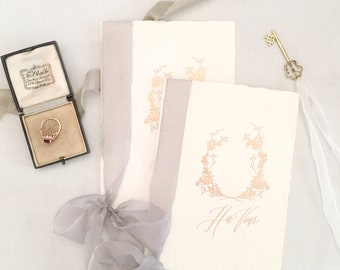 Calligraphy Wedding Vows Book // Handmade Paper with Grey Silk Ribbons