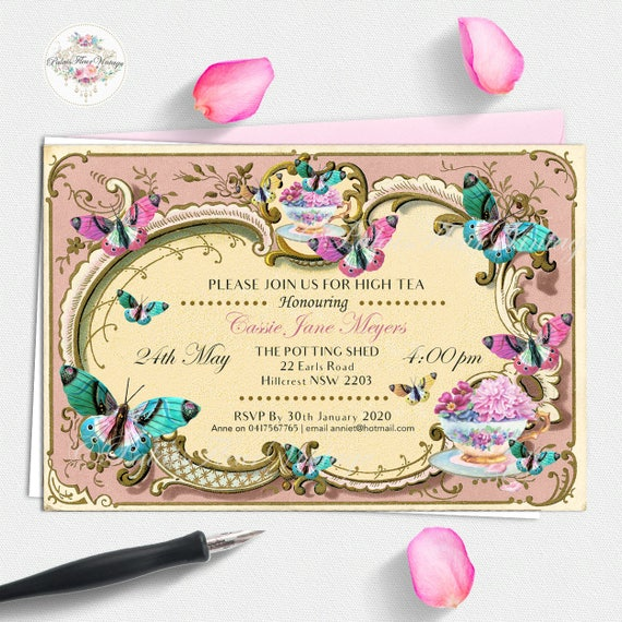 Floral  Inspired Vintage Tea Personalised Party Invitations