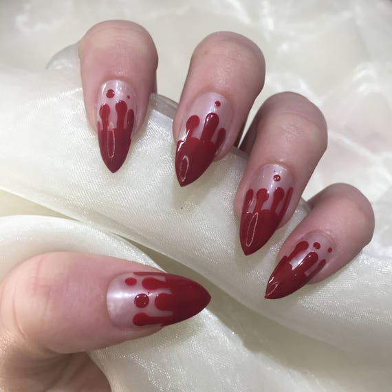 Blood Drip Halloween Costume False Press on Nails | Etsy