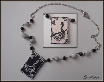 Black and white reversible necklace with Peacock-Smallart SmallArtHandmade-negative effect