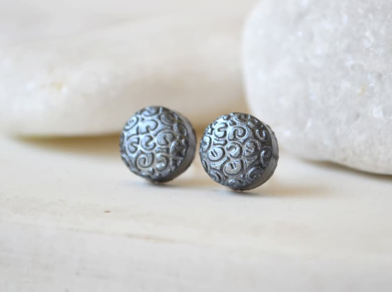 925a67602 Grey stud earrings Silver post earrings filigree studs Holiday | Etsy