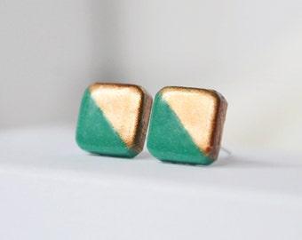 Square studs Green stud earrings geometric studs teal green post earrings gold dipped green studs malachite green post minimalist earrings