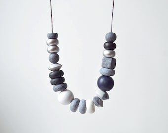 Monochrome Chunky Necklace Polymer clay necklace Beaded necklace black and white necklace minimal jewelry Statement necklace geometric gift