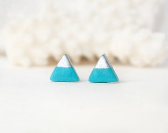 Turquoise triangle Stud earrings turquoise studs turquoise gold earrings silver dipped stud turquoise posts geometric earrings polymer studs