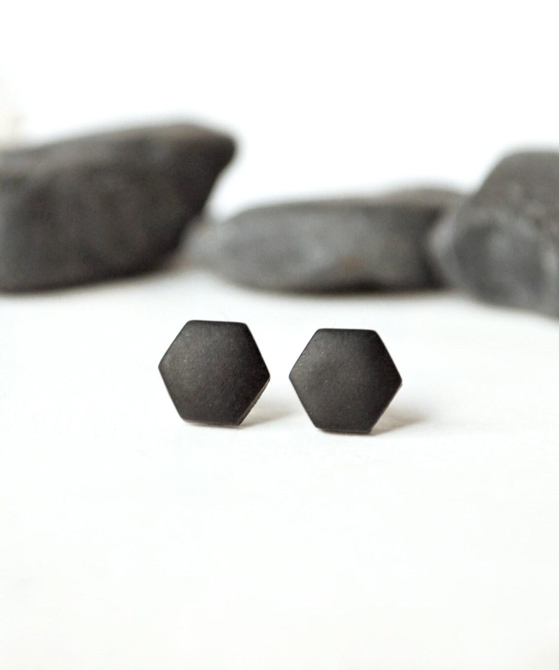 Black studs, matte black earrings, earrings for men, unisex, matte black studs, hexagon studs, black stud earring, mens earrings, mens studs