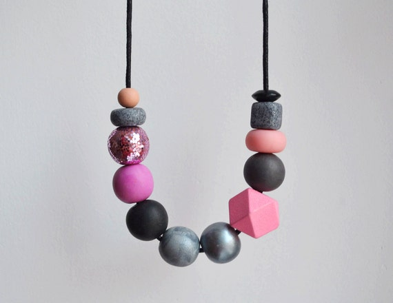 Greypink marbled polymer clay statement necklace and earring set