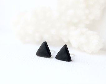 Black studs, matte black earrings, earrings for men unisex, matte black studs,triangle studs, black stud earrings, mens earrings, mens studs
