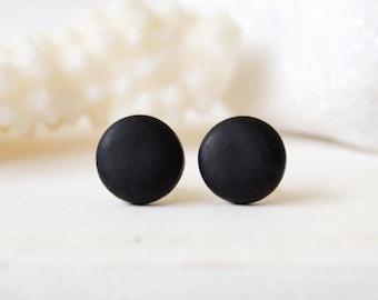 Black studs, matte black earrings, earrings for men, unisex, matte black studs, round studs, black stud earrings, mens earrings, mens studs