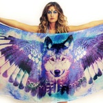Cosmic  Wolf Scarf  - Husky Gift - Wings - Wing Scarf - Bohemian Clothing - Festival Clothing - Feathers - boho - Beach Dress - Sarong
