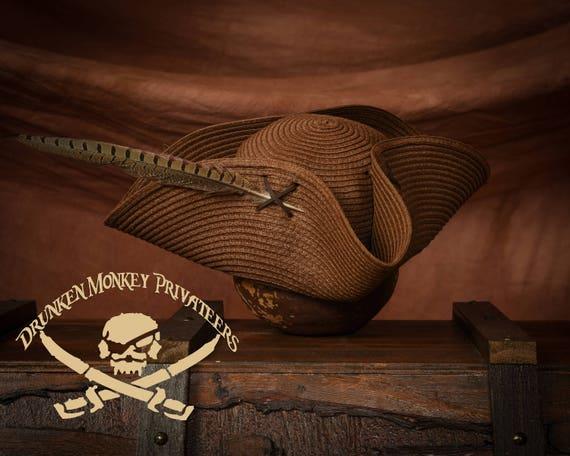 9250c0b135a Brown Straw Pirate Tricorn Hat Pirate Hat Straw Tricorn