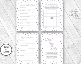 70% Off - Baby Shower Game Pack 2 - Don't Say Baby Clothespin Game - Nursery Rhyme Game - Gift Bingo - Printable 5x7 - Lavender L Gray 17-22
