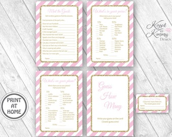 70% Off - Bridal Baby Shower Game Pack 3 - Meet the Guests - What's in your Purse Phone - Guess How Many -Printable- Pastel Pink Gold 20-G43