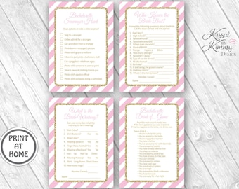 70% Off - Bachelorette Party Game Pack 4 - Scavenger Hunt - Drinking Games - Who Knows the Bride best -Printable 5x7 Pastel Pink Gold 20-G43