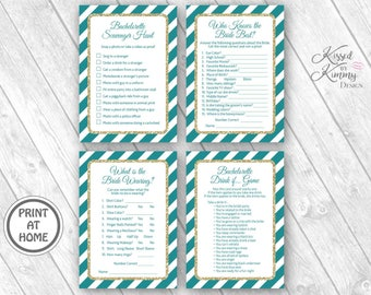 70% Off - Bachelorette Party Game Pack 4 - Scavenger Hunt - Drinking Games - Who Knows the Bride best - Printable 5x7- Dark Teal Gold 10-G43