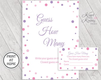 70% OFF - Guess How Many - Baby Shower Games - Guess How Many Sign - How Many Are There Tickets - Printable - 5x7 - Pinks Lavender - P-17