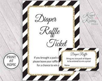 70% OFF - Diaper Raffle Ticket Inserts - Baby Shower Games - Diaper Raffle Sign - Table Sign - Printable - 5x7 - Black Gold Glitter - 21-G43