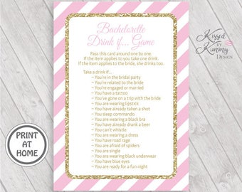70% OFF - Bachelorette Drink If Game - Bachelorette Games - BridalShower Game Pack - Wedding - Printable - 5x7 - Pastel Pink Gold - 20-G43