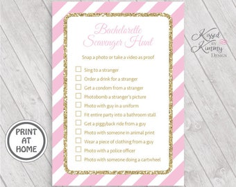 70% OFF - Bachelorette Scavenger Hunt Game - Bachelorette Games - Bridal Game Pack - Wedding - Printable - 5x7 - Pastel Pink Gold - 20-G43