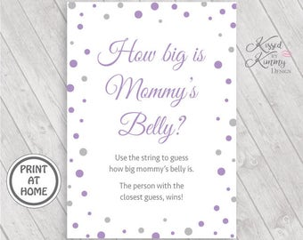 70% OFF - How big is mommy's belly? - Baby Shower Games - Baby Bump String - Mommy's Baby Bump Sign - Printable - 5x7- Lavender Gray - 17-22