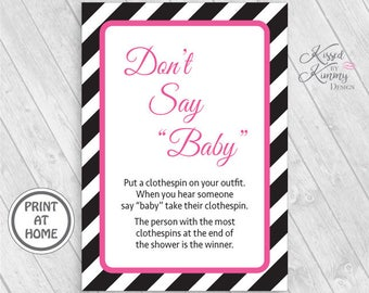 70% OFF - Don't Say Baby - Baby Shower Games - Game Pack - Clothespin Necklace Game - Digital PDF - Printable 5x7 - Black Bright Pink 21-18