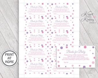 70% OFF - Books for Baby Game - Baby Shower Games - Bring a book instead of a card - Printable Invitation Insert 5x7 - Pinks Lavender - P-17