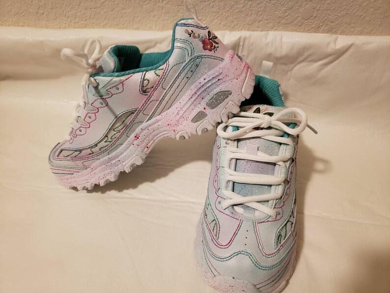 1072129c83a Custom Skechers D Lites Bright Blossoms Women s Shoes