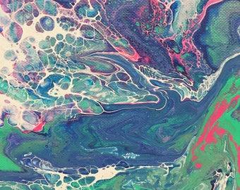Hot pink & royal blue Fluid Art painting