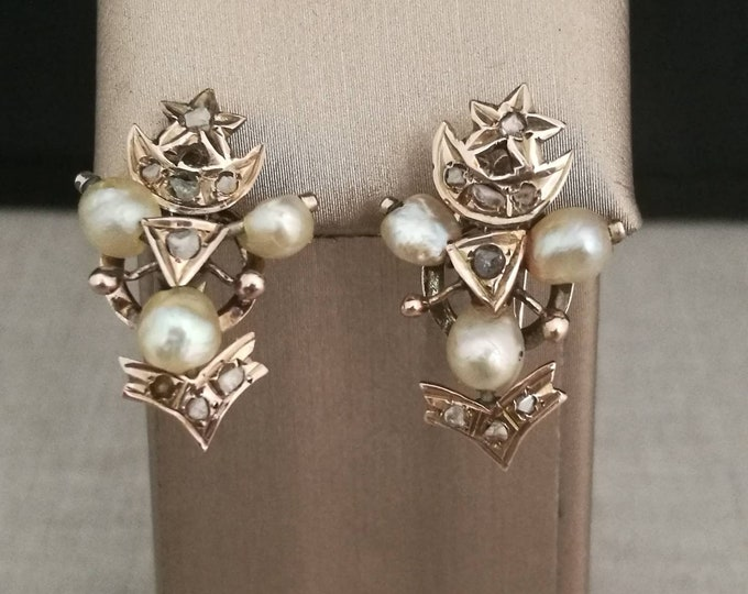 Vintage 10kt Gold earrings with natural diamonds and antique pearls
