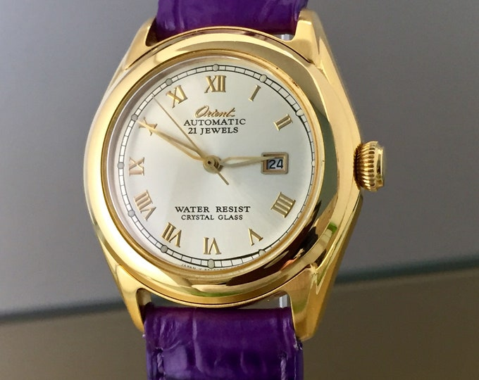 Rare ORIENT Lady Vintage gold plated watch with automatic movement 21 jewels. Perfect conditions