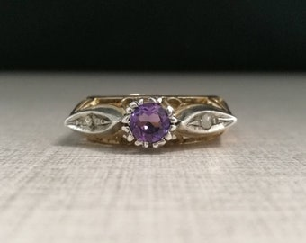 Vintage 14kt gold ring and silver Caston with amethyst and natural diamonds antique cut