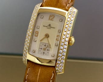 Beautiful watch BAUME & MERCIER Hampton Lady in 18kt solid gold and diamonds with mother of pearl dial + box