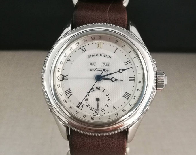 Rare Sowind D. JR Vintage Watch automatic full calendar + 24 hours.