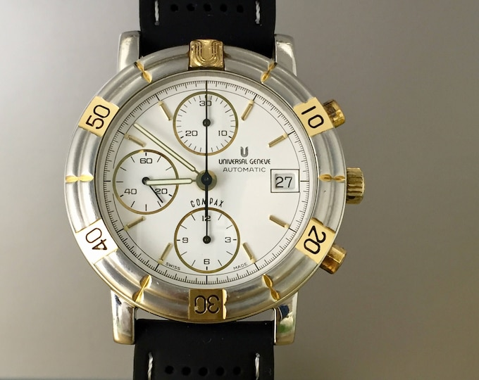 WATCH UNIVERSAL GENEVE Compax automatic chronograph steel and gold