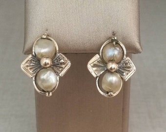 Vintage 12kt Gold earrings with antique pearls