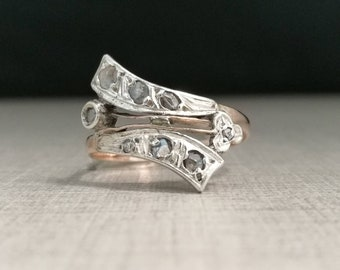 Vintage 10kt gold ring and antique cut diamonds