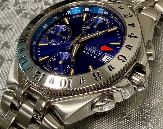LUCIEN ROCHAT vintage krab automatic chronograph GMT watch