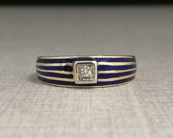 Vintage 18kt yellow gold ring, with enamel finish and natural diamond brilliant cut